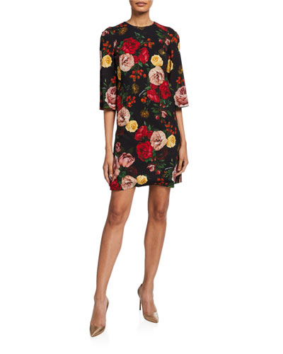 3/4-Sleeve Baroque Roses Shift Dress