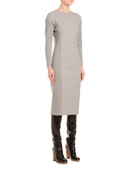 Wool-Jersey Long-Sleeve Pencil Dress