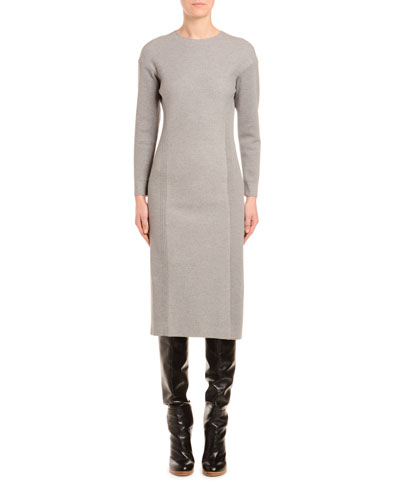 Wool-Jersey Long-Sleeve Pencil Dress