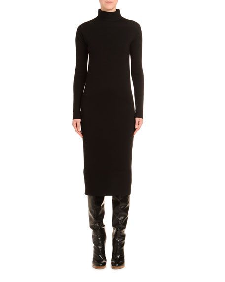 Mock-Neck Wool Pencil Dress