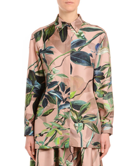Floral-Print Silk Twill Button-Front Blouse