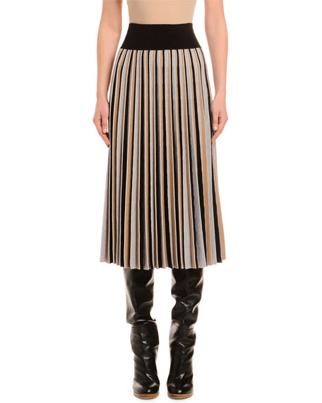 Pleated Colorblocked Wool Skirt