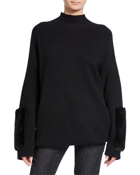 Cashmere Mink-Cuff Sweater