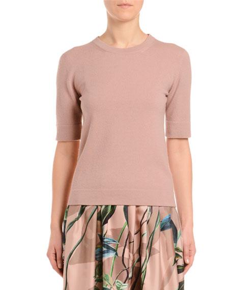 1/2-Sleeve Cashmere T-Shirt Sweater