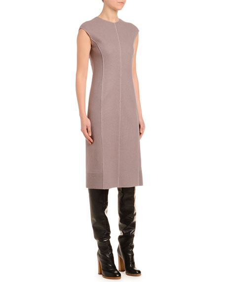 Cashmere-Jersey Cap-Sleeve Pencil Dress