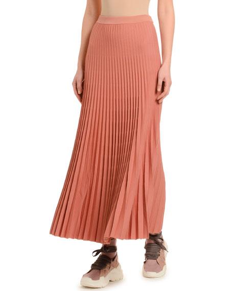 Pleated Wool Skirt, Dark Pink