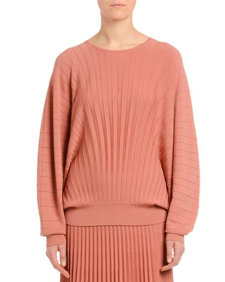 Dolman-Sleeve Pleated Wool Sweater