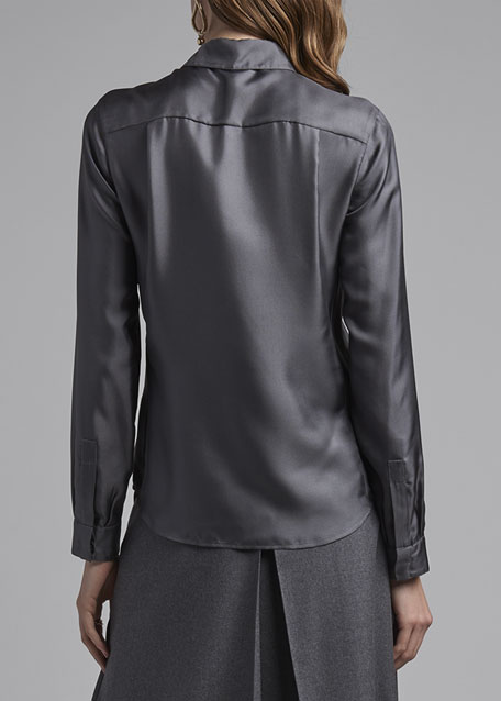 Silk Twill Button-Front Blouse, Gray
