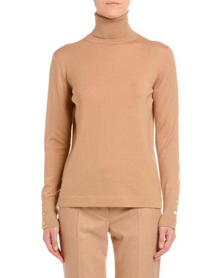 Cashmere-Silk Turtleneck Sweater, Camel