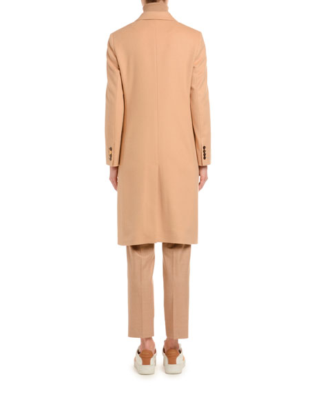 Cashmere Single-Breasted Slim Coat, Camel