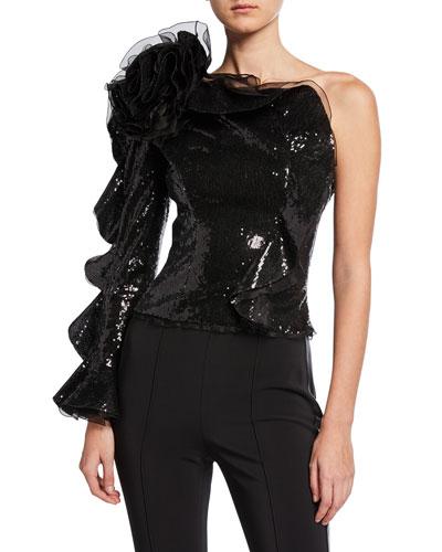 Ruffled One-Shoulder Sequin Top