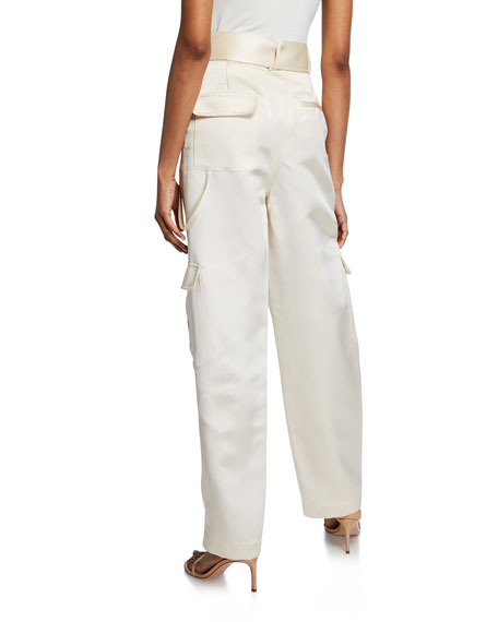 Satin Belted Cargo Pants