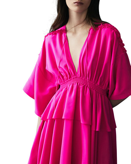 Silk Kimono Mini Dress