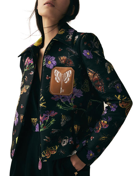 Butterfly Jacquard Zip-Front Bomber Jacket