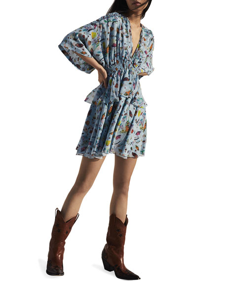 Butterfly-Print Silk Kimono Mini Dress
