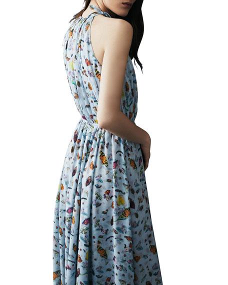 Butterfly Print Silk Gown