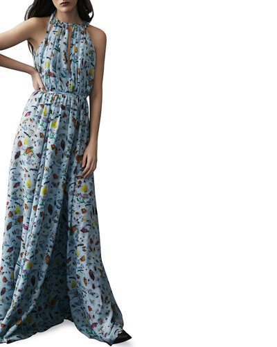 Butterfly Print Silk Gown