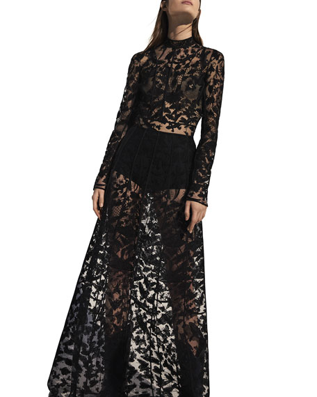 Long-Sleeve Sheer Butterfly Lace Gown