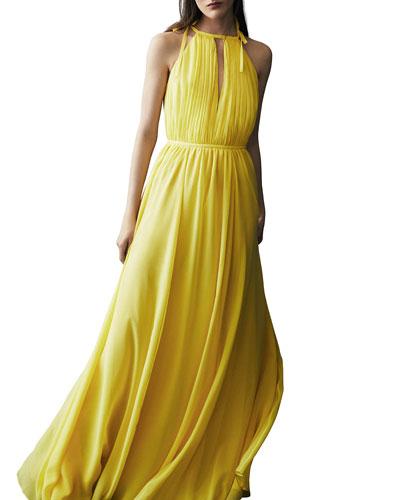 Sleeveless Silk Halter Gown  Yellow