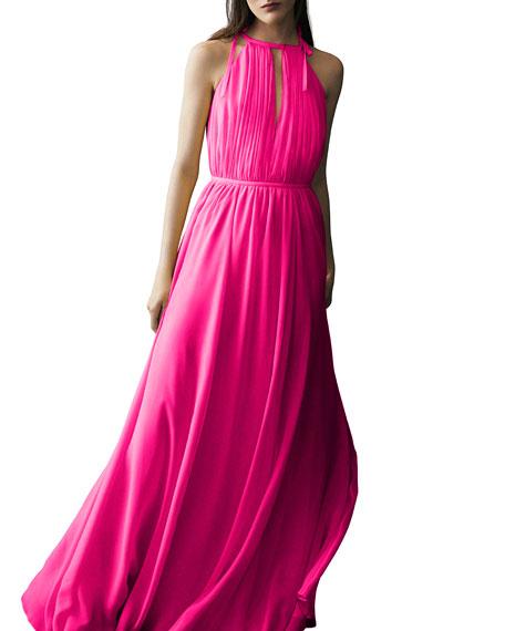 Sleeveless Silk Halter Gown, Pink