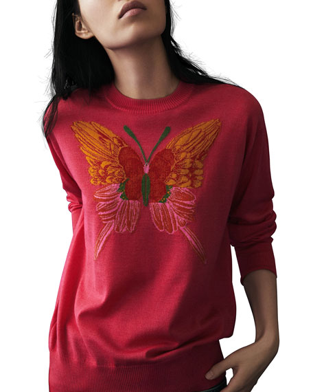 Cashmere-Silk Butterfly-Embroidered Sweater