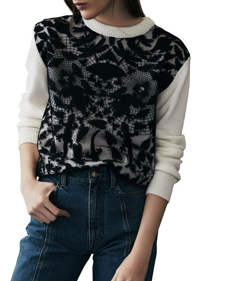 Cashmere Butterfly-Lace Inset Sweater