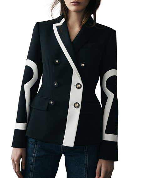 Key-Embroidered Two-Tone Blazer
