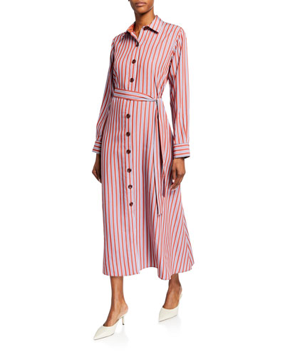 Valerie Striped Button-Front Midi Shirtdress