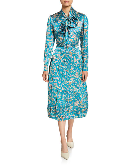 Gilda Floral-Print Fluid-Silk Tie-Neck Shirtdress