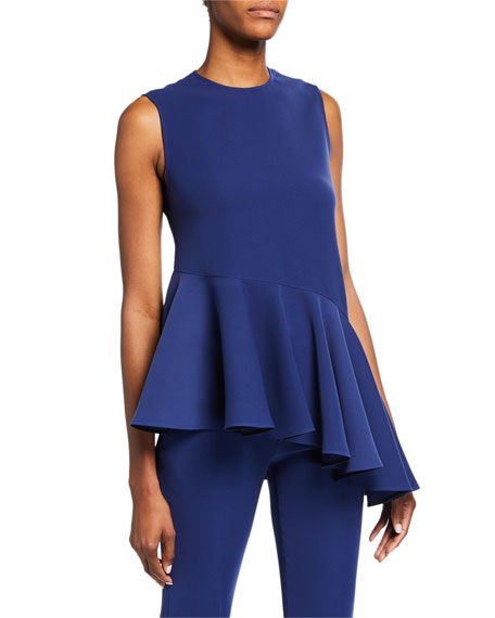 ADEAM Asymmetric Ruffled Peplum Tank Top