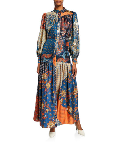 Elsa Scarf Patchwork Maxi Shirtdress