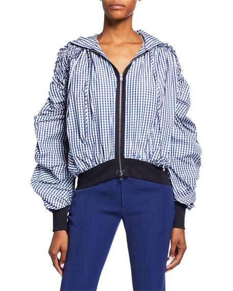 ADEAM Ruched-Sleeve Zip-Front Gingham Sweatshirt