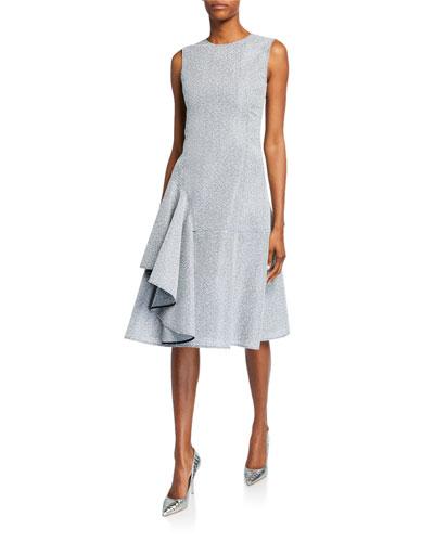 Sleeveless Ruffled Tweed Dress