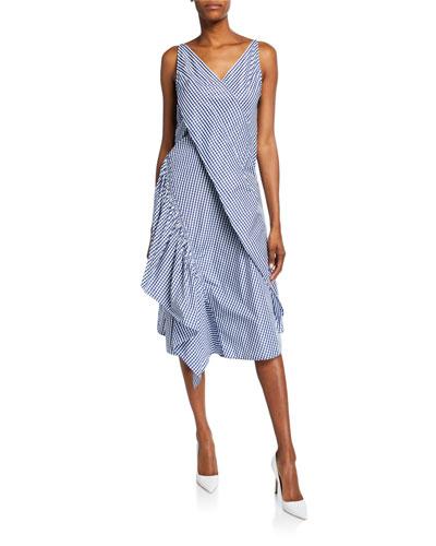 Moga Gingham Ruffled Slip Dress