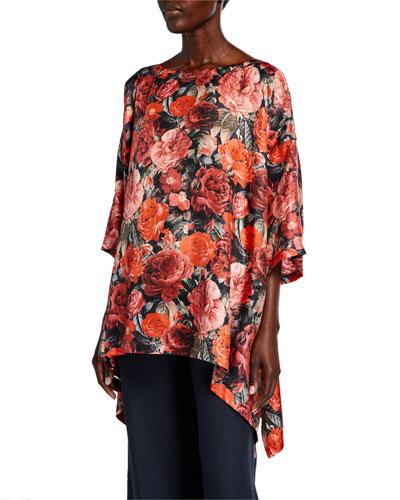 3/4-Sleeve Floral-Print Silk Top