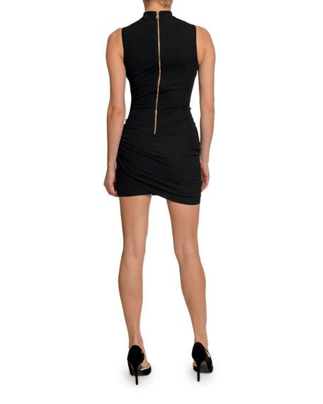 Ruched Button-Waist Cocktail Dress