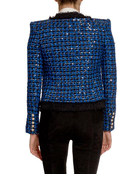 Sequined Tweed Open-Front Blazer