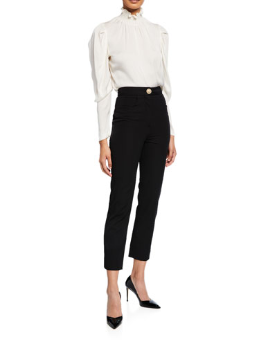 Wool Crepe Golden-Button Straight-Leg Pants