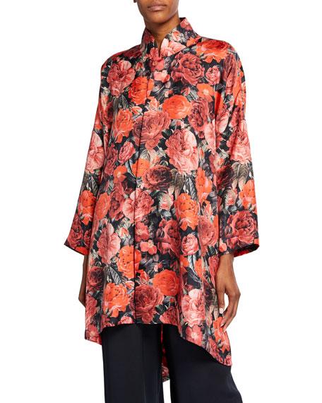 Wide Mandarin-Collar Rose-Print Shirt