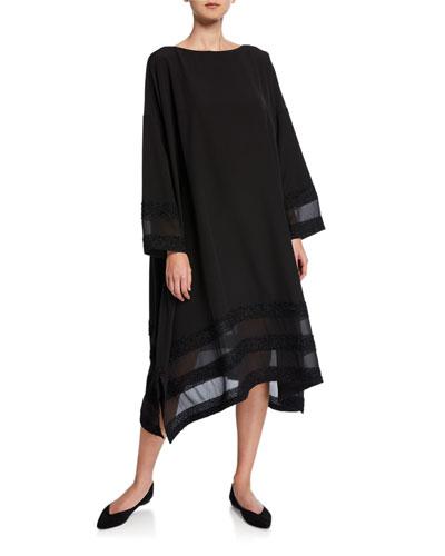 Beaded Sheer-Striped Dress