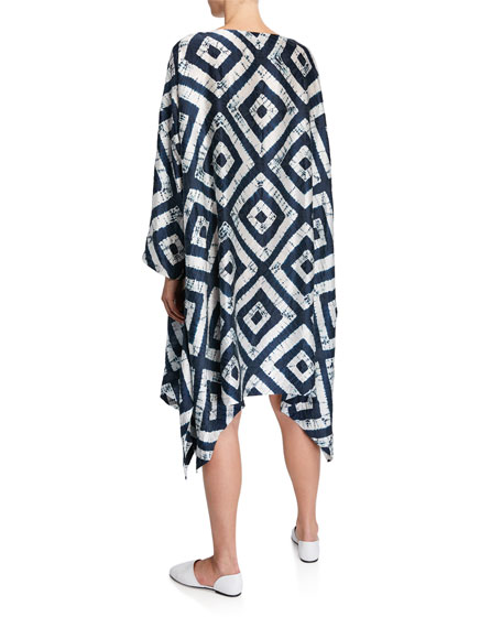 Geometric Tie-Dye Voile Handkerchief Dress