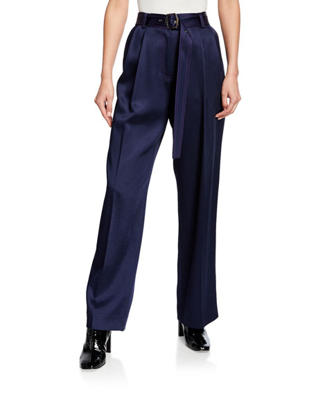 Satin High-Rise Wide-Leg Pants