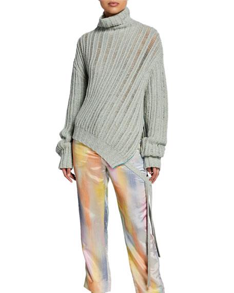 Cashmere Asymmetric Turtleneck Sweater w/ Side Ties