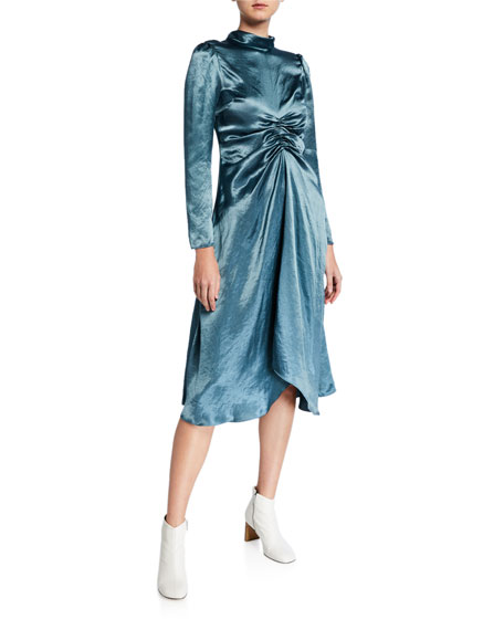 Mock-Neck Crushed Satin Dress