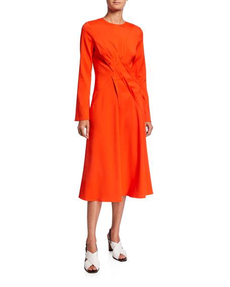 Seamed Jersey Crewneck Dress