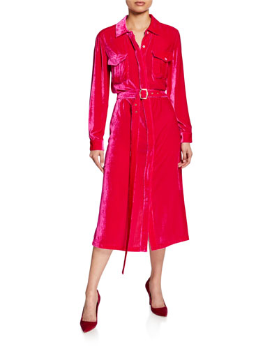 Corduroy Belted Midi Shirtdress