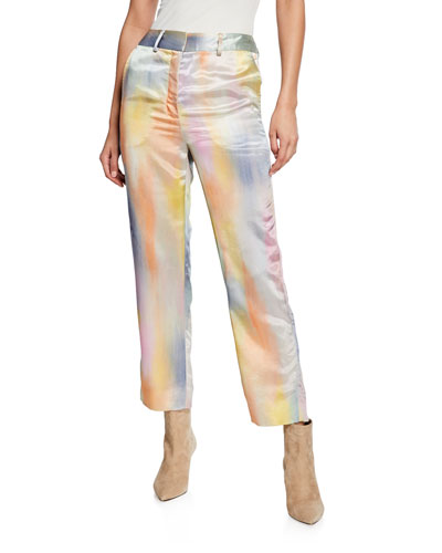 Tie-Dye Satin Cropped Pants