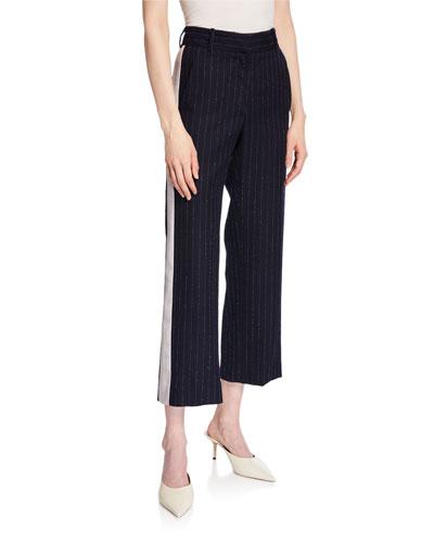 Pinstriped Straight-Leg Cropped Pants