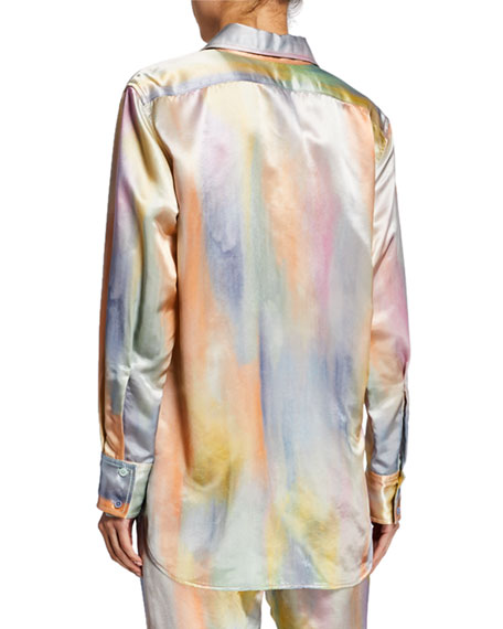 Tie-Dye Satin Long-Sleeve Top
