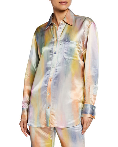 Tie-Dye Satin Long-Sleeve Top